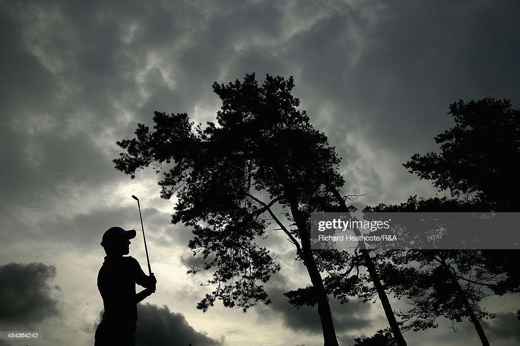 Bradley Neil of GB&I tee's off at the 8th in his match with Grant Forrest against Mario Galiano and Emilo Cuartero of Europe during the final day of the St Andrews and Jacques Trophies at Barseback Golf & Country Club on August 30, 2014 in Loddekopinge, Sweden.