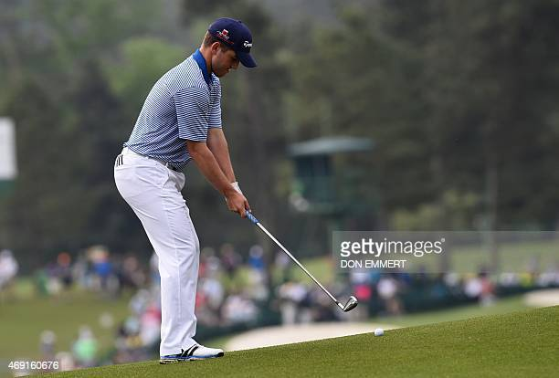 Bradley Neil of Scotland hits a shot on the 2nd hole during Round 2 of the 79th Masters Golf Tournament at Augusta National Golf Club on April 10 in...