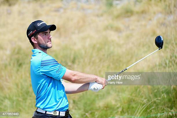 Bradley Neil of Scotland hits a tee shot during a practice round prior to the start of the 115th US Open Championship at Chambers Bay on June 16 2015...