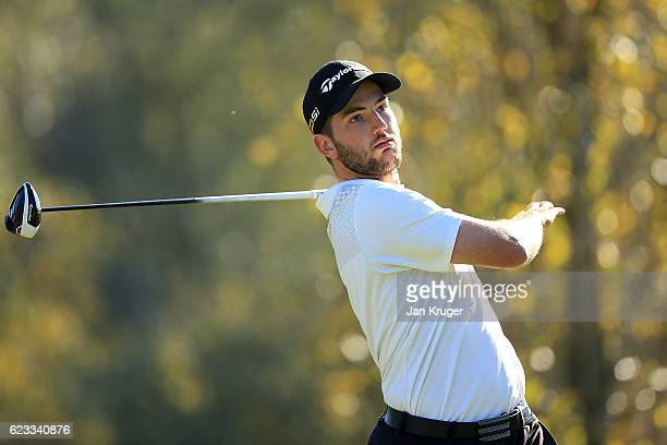 Bradley Neil of Scotland in action during the fourth round of the European Tour qualifying school final stage at PGA Catalunya Resort on November 15...