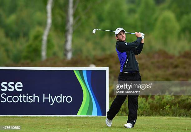 Bradley Neil of Scotland in action on the 10th tee during the second round of the 2015 SSE Scottish Hydro Challenge at the MacDonald Spey Valley...