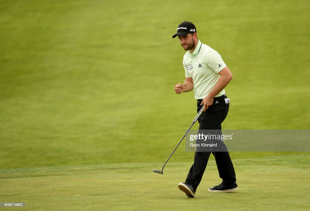 Bradley Neil of Scotland lines up his putt on the par four 16th hole during the third round of the Open de Espana at Centro Nacional de Golf on April 14, 2018 in Madrid, Spain.