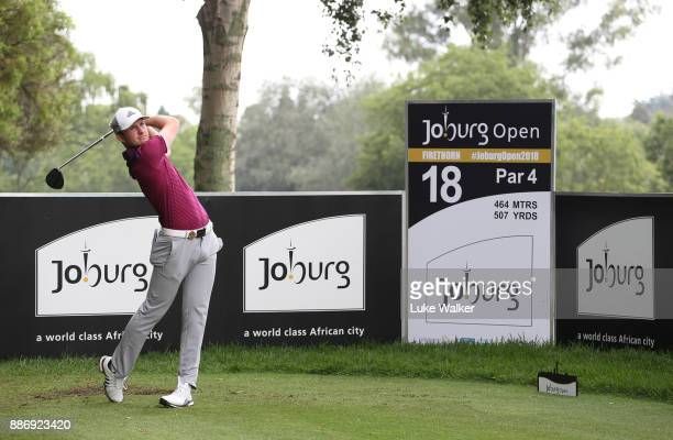 Bradley Neil of Scotland plays a shot ahead of the Joburg Open at Randpark Golf Club on December 6 2017 in Johannesburg South Africa
