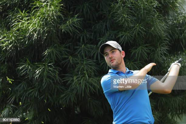 Bradley Neil of Scotland plays his second shot on the 16th hole during day two of the BMW South African Open Championship at Glendower Golf Club on...