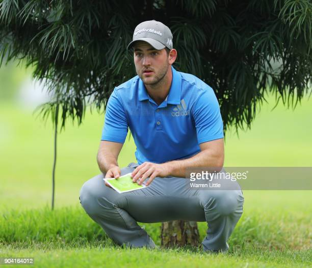 Bradley Neil of Scotland prepares to play his second shot on the 16th hole during day two of the BMW South African Open Championship at Glendower...