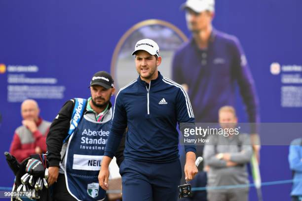 Bradley Neil of Scotland reacts to a putt on hole eighteen during day one of the Aberdeen Standard Investments Scottish Open at Gullane Golf Course...
