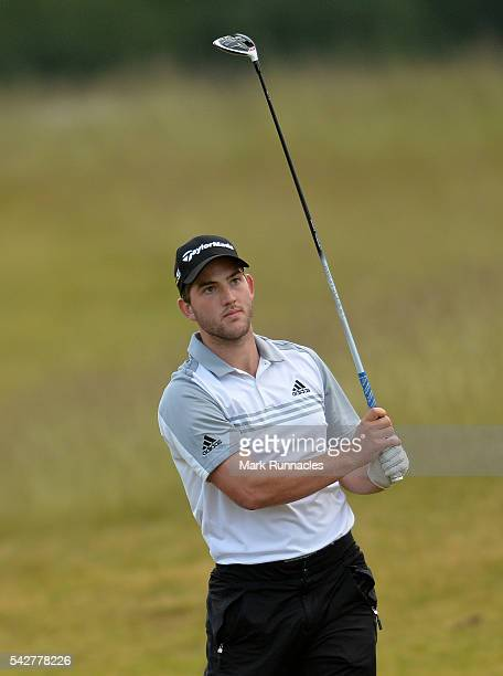 Bradley Neil of Scotland second shot at the 5th during the second day of the 2016 SSE Scottish Hydro Challenge at the MacDonald Spey Valley Golf...