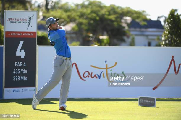Bradley Neil of Scotland tees off on the 4th during day one of the AfrAsia Bank Mauritius Open at Heritage Golf Club on November 30 2017 in Bel Ombre...
