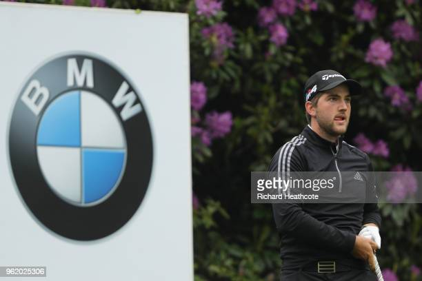 Bradley Neil of Scotland tees off on the 7th hole during the first round of the BMW PGA Championship at Wentworth on May 24 2018 in Virginia Water...
