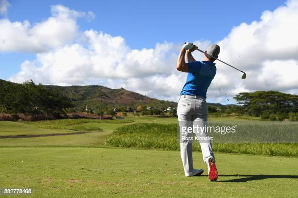 Bradley Neil of Scotland watches his tee shot on the 3rd during day one of the AfrAsia Bank Mauritius Open at Heritage Golf Club on November 30 2017...