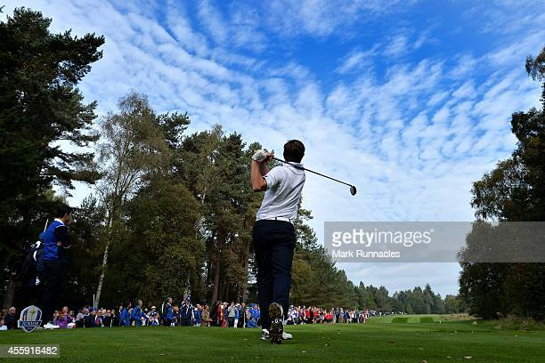 Bradley Neil of Team Europe plays his tee shot to the 18th during the first round of the 2014 Junior Ryder Cup at Blairgowrie Golf Club on September...