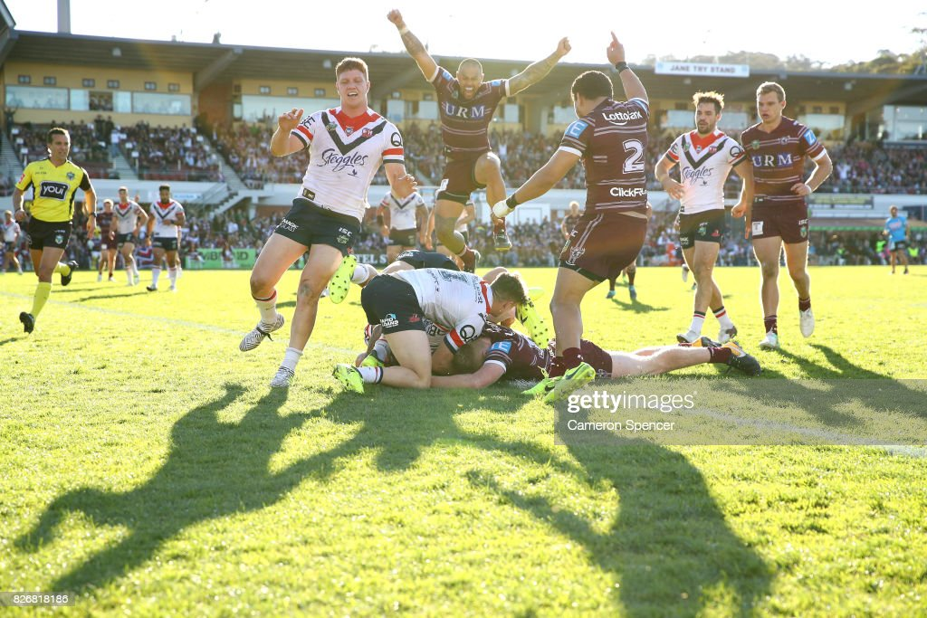 Bradley Parker of the Sea Eagles scores a try during the round 22 NRL match between the Manly Warringah Sea Eagles and the Sydney Roosters at Lottoland on August 6, 2017 in Sydney, Australia.