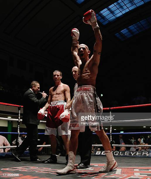Bradley Pryce celebrates defeating Michael Lomax in their Light-Middleweight fight at York Hall on June 29, 2013 in London, England.
