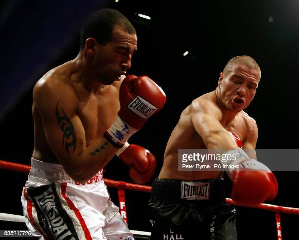 Bradley Pryce in action with Mathew Hall during the Commonwealth LightMiddleweight Title bout at the MEN Manchester