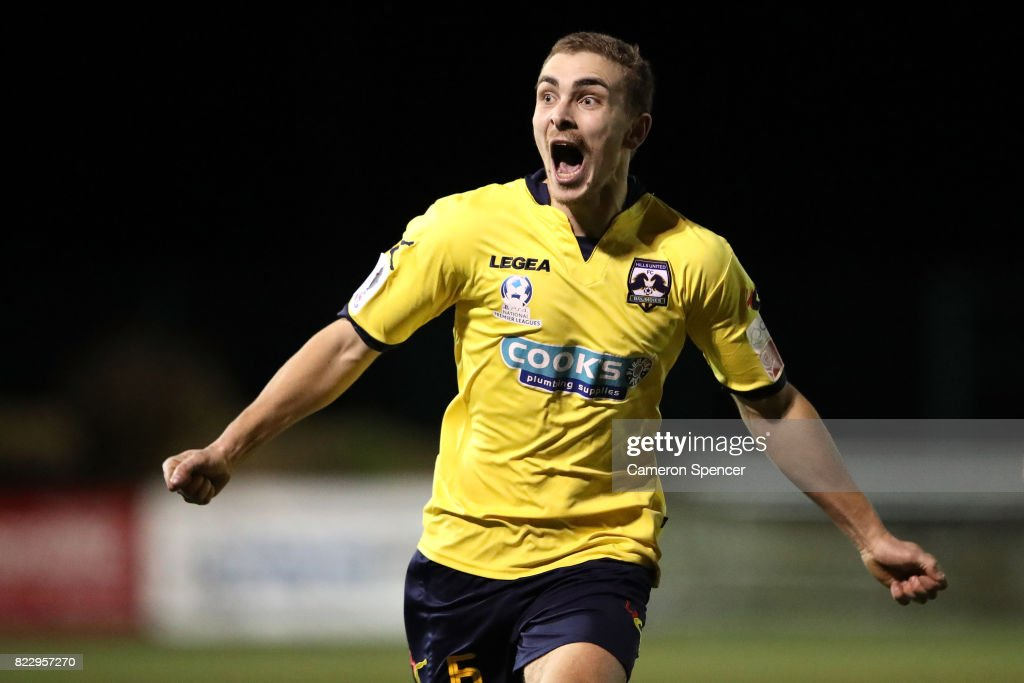 Bradley Robertson of Hills Brumbies celebrates kicking a goal during the FFA Cup round of 32 match between Hills United FC and Hakoah Sydney City East at Lily's Football Stadium on July 26, 2017 in Sydney, Australia.