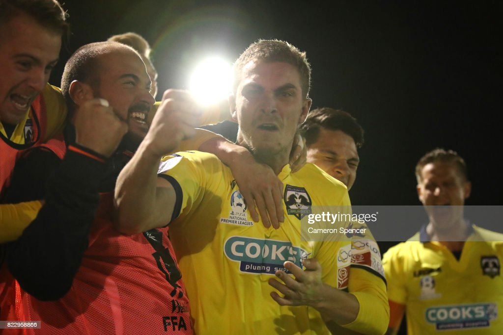 Bradley Robertson of Hills Brumbies celebrates scoring a goal with team mates during the FFA Cup round of 32 match between Hills United FC and Hakoah Sydney City East at Lily's Football Stadium on July 26, 2017 in Sydney, Australia.