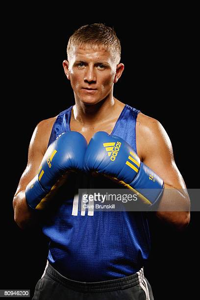 Bradley Saunders Light Welterweight South Durham ABC Sedgefield poses during the Great Britain Olympic boxing team press conference on May 1 2008 in...
