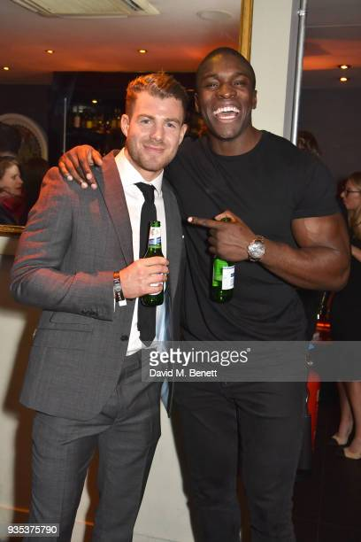 Bradley Simmonds and guest attend the launch of new fitness book 'Get It Done My Plan Your Goal' by Bradley Simmonds at 100 Wardour St on March 20...