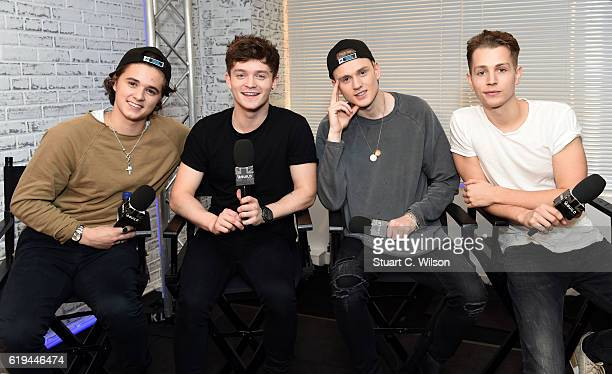 Bradley Simpson Connor Ball Tristan Evans and James McVey of 'The Vamps' take part in the BUILD Series LDN The Vamps at AOL London on October 31 2016...
