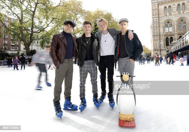 Bradley Simpson Connor Ball Tristan Evans and James McVey of The Vamps visit The Natural History Museum Ice Rink on November 3 2017 in London England