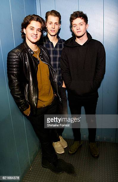 Bradley Simpson James McVey and Connor Ball of The Vamps pose backstage before meeting fans and signing copies of their new single 'All Night' at HMV...