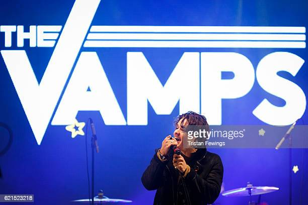 Bradley Simpson of The Vamps peform live on stage ahead of Craig David switching on the Oxford Street Christmas Lights at Oxford Street on November 6...