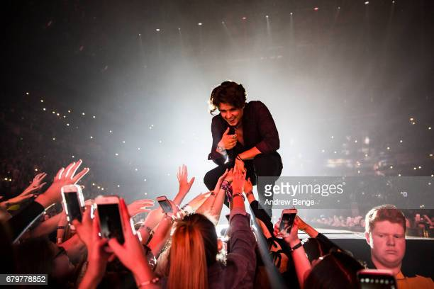 Bradley Simpson of The Vamps performs at Manchester Arena on May 6, 2017 in Manchester, England.