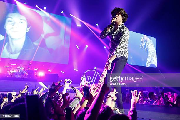 Bradley Simpson of The Vamps performs at The O2 Arena on April 1 2016 in London England