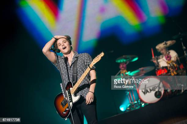Bradley Simpson of The Vamps performs at The SSE Hydro on April 29 2017 in Glasgow Scotland