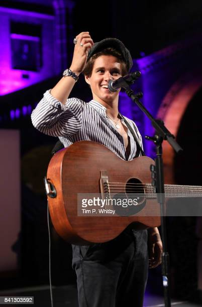 Bradley Simpson of The Vamps performs during the London Autumn Season launch at the Natural History Museum on August 31 2017 in London England