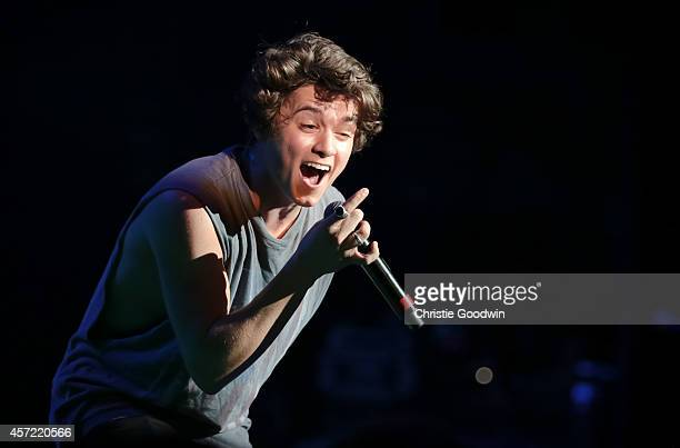 Bradley Simpson of The Vamps performs on stage at Hammersmith Apollo on October 14 2014 in London United Kingdom
