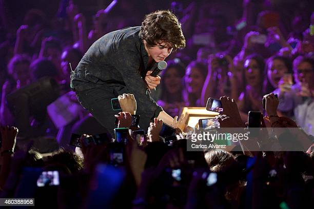 Bradley Simpson of The Vamps performs on stage during the '40 Principales' awards 2013 ceremony at the Barclaycard Center on December 12 2014 in...
