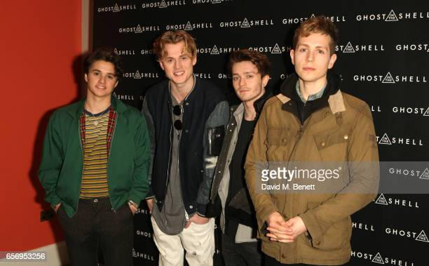 Bradley Simpson Tristan Evans Connor Ball and James McVey of The Vamps attend the UK Gala Screening of Ghost In The Shell at The Ham Yard Hotel on...