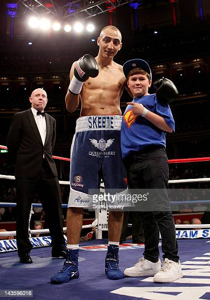 Bradley Skeete celebrates his victory over Dean Byrne during their Welterweight bout at Royal Albert Hall on April 28 2012 in London England