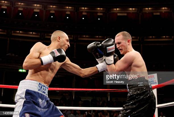 Bradley Skeete in action with Dean Byrne during their Welterweight bout at Royal Albert Hall on April 28 2012 in London England