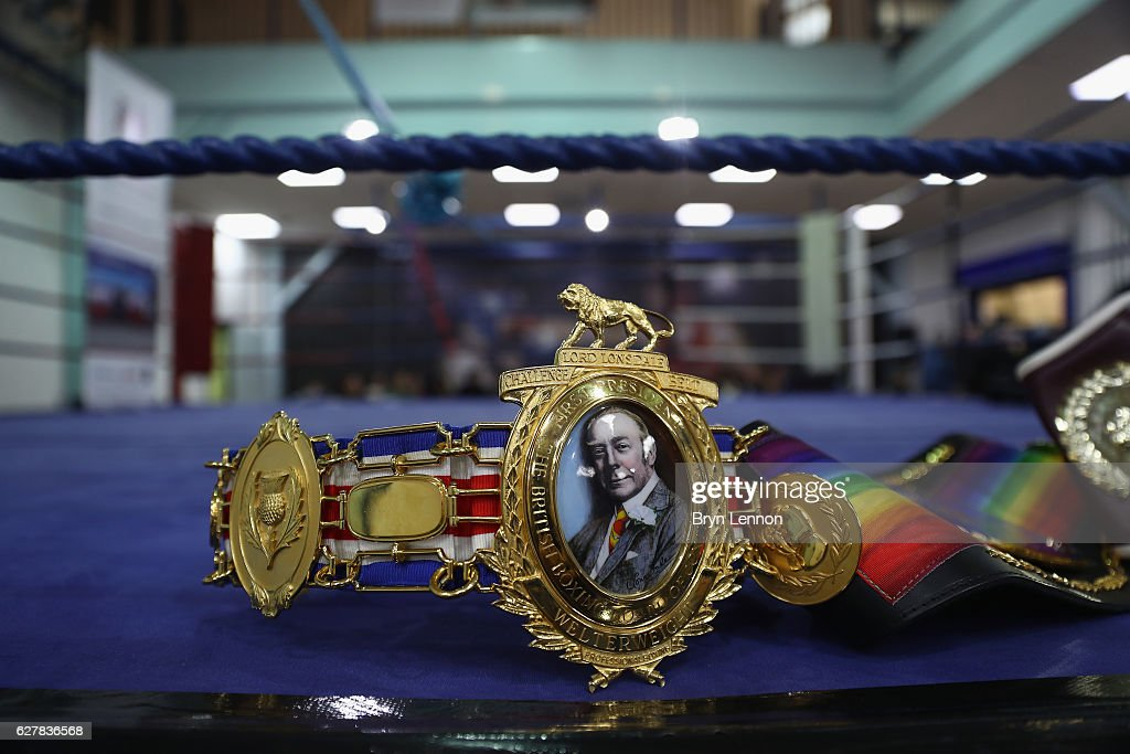 Bradley Skeete's belts on display during the Reopening of Earlsfield Amateur Boxing Club on December 5, 2016 in London, England.