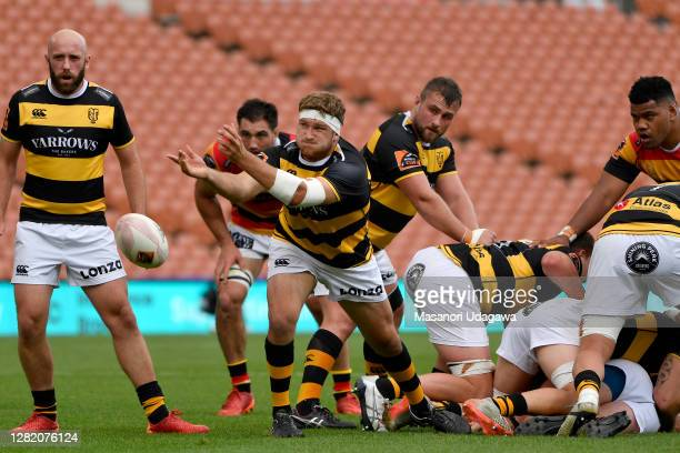 Bradley Slater of Taranaki passes the ball during the round 7 Mitre 10 Cup match between Waikato and Taranaki at FMG Stadium on October 25 2020 in...
