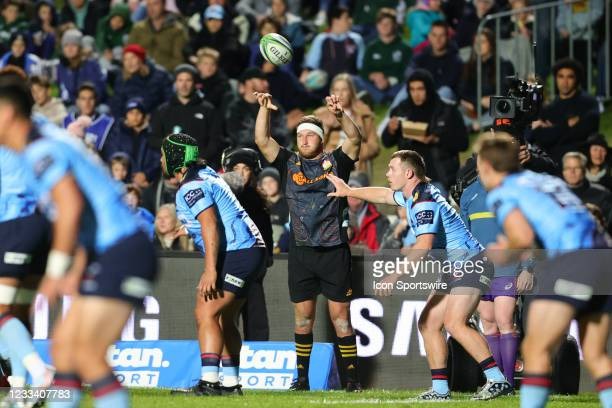 Bradley Slater of the Chiefs throws a line out during the round five Super Rugby Trans Tasman match between the NSW Waratahs and Chiefs at Brookvale...