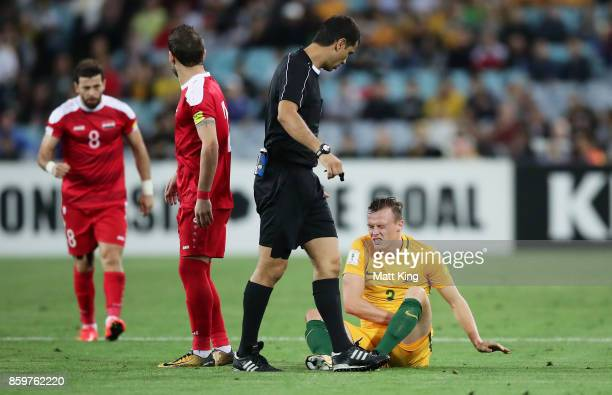 Bradley Smith of Australia lies down injured during the 2018 FIFA World Cup Asian Playoff match between the Australian Socceroos and Syria at ANZ...