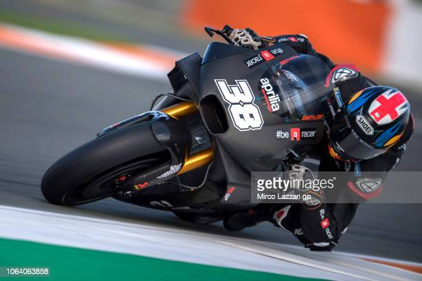 Bradley Smith of Great Britain and Aprilia Racing Team Team rounds the bend during the MotoGP Tests In Valencia at Ricardo Tormo Circuit on November...