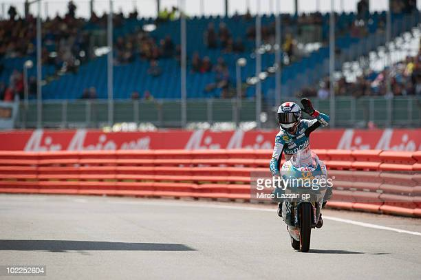Bradley Smith of Great Britain and Bancaja Aspar Team celebrates the third place at the end of 125 cc race of British Grand Prix at Silverstone...