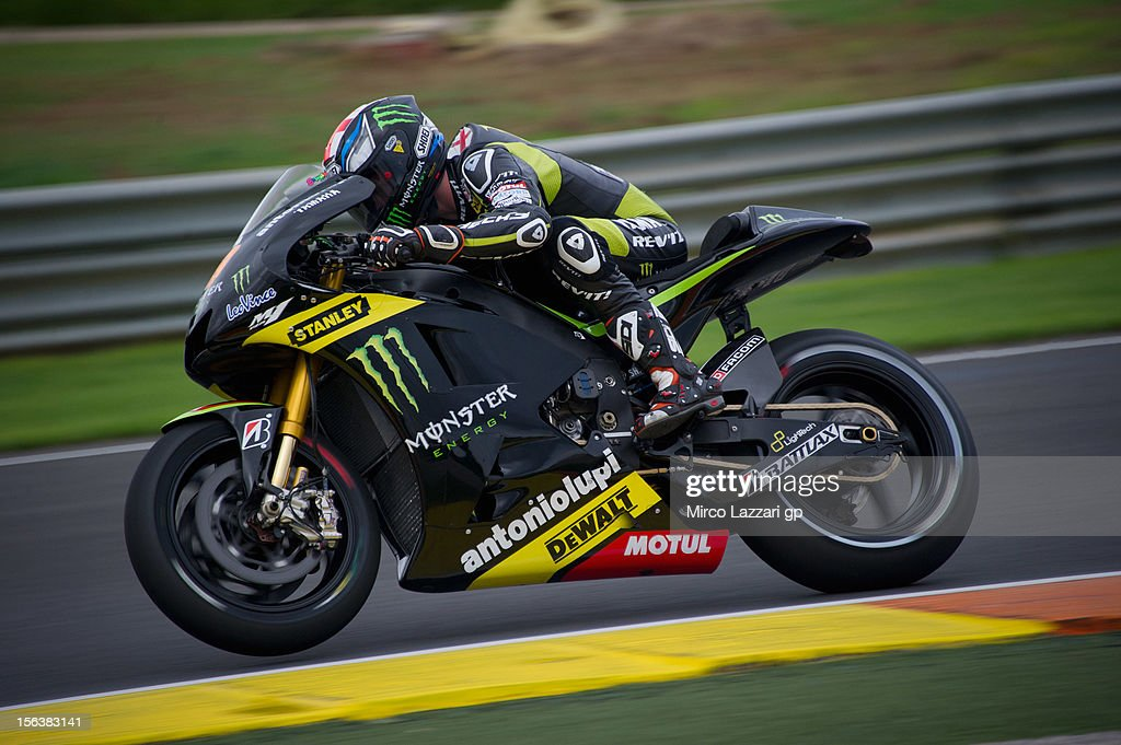 Bradley Smith of Great Britain and Monster Yamaha Tech 3 heads down a straight (first time with the bike) during the second day of pre season MotoGP testing at Ricardo Tormo Circuit on November 14, 2012 in Valencia, Spain.