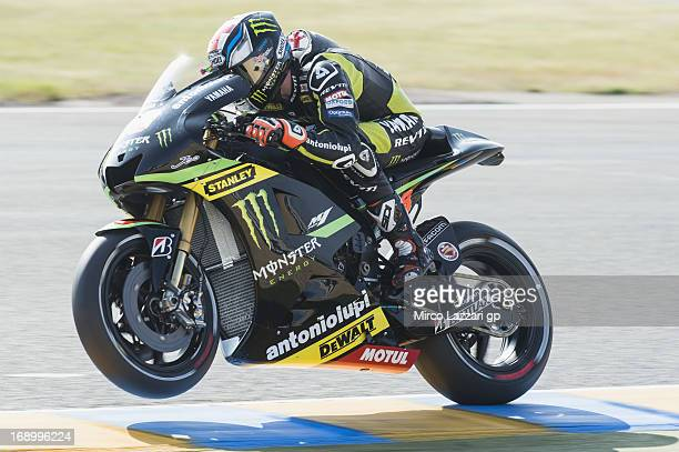 Bradley Smith of Great Britain and Monster Yamaha Tech 3 lifts the front wheel during the qualifying practice of the MotoGp Of France Qualifying on...