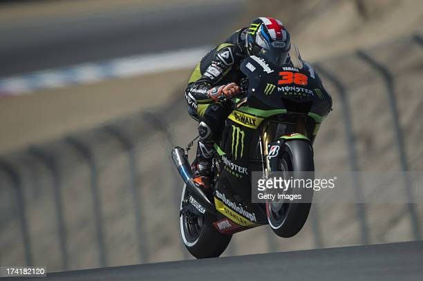 Bradley Smith of Great Britain and Monster Yamaha Tech 3 lifts the front wheel during the warmup during the MotoGp Red Bull US Grand Prix Race at...