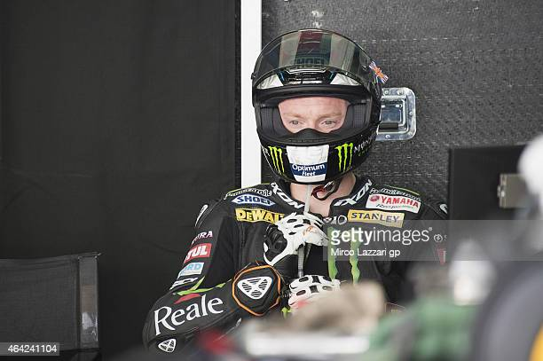 Bradley Smith of Great Britain and Monster Yamaha Tech 3 looks on in box during the MotoGP Tests in Sepang Day One at Sepang Circuit on February 23...