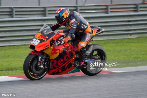 Bradley Smith of Great Britain and Red Bull KTM Factory Racing heads down a straight during the MotoGP test in Sepang at Sepang Circuit on January 30...