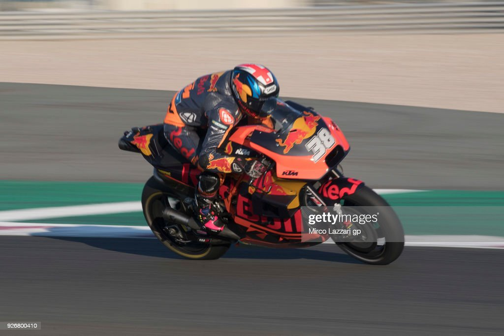Bradley Smith of Great Britain and Red Bull KTM Factory Racing heads down a straight during the Moto GP Testing - Qatar at Losail Circuit on March 3, 2018 in Doha, Qatar.