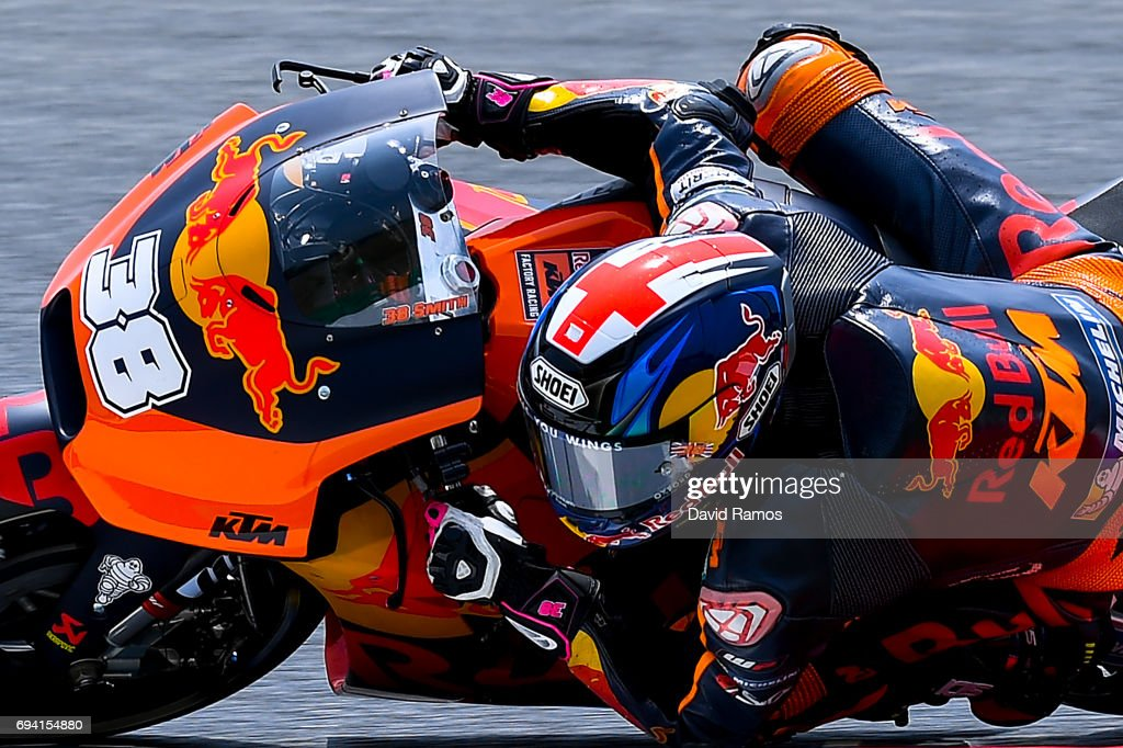 Bradley Smith of Great Britain and Red Bull KTM Factory Racing rides during free practice for the MotoGP of Catalunya at Circuit de Catalunya on June 9, 2017 in Montmelo, Spain.