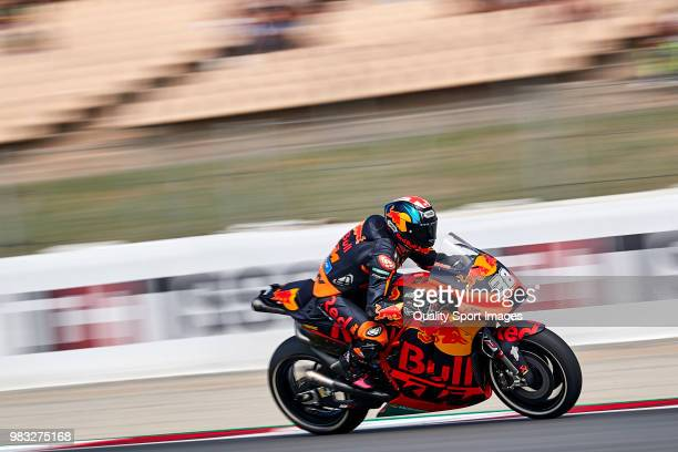 Bradley Smith of Great Britain and Red Bull KTM Factory Racing rides during free practice for the MotoGP of Catalunya at Circuit de Catalunya on at...