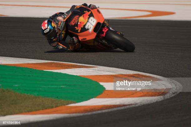 Bradley Smith of Great Britain and Red Bull KTM Factory Racing rounds the bend during the MotoGP Tests In Valencia day 2 at Comunitat Valenciana...